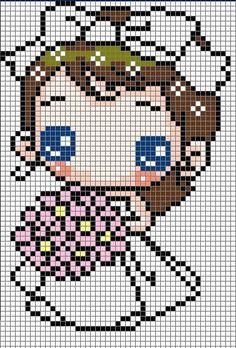 Cute Bride Hama Perler Bead Pattern or Cross Stitch Chart