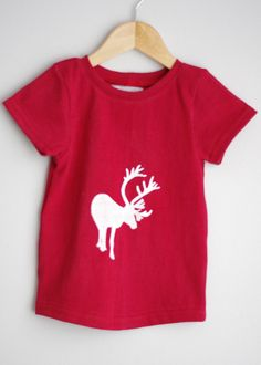 Red short sleeve reindeer upcycled top / by CatherineSoucy on Etsy