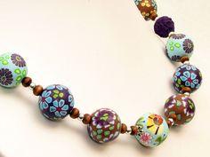 necklace, fimo, beads, millefiori  *See im Wald* Kette Polymer Clay Perlen Des... von filigran-Design   auf DaWanda.com