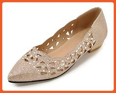 SHOWHOW Women's Sparkling Rhinestone Cut-Out Flat Pumps shoes Gold 13 B(M) US - Pumps for women (*Amazon Partner-Link)