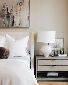 A few of our favorite things! Linen bedding, ceramic table lamps and pretty art above the bed! Alice Lane Home