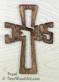 Jesus Cross, Baltic Birch Wood Cross for Wall Hanging or Ornament, Item J-2