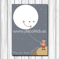 Cuadro infantil Luna y Niño para decoración en habitaciones de bebés