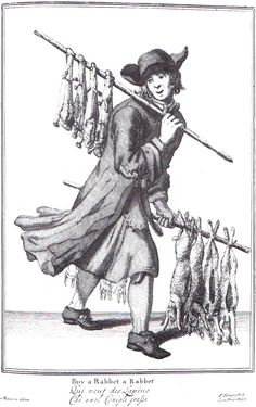 """""""Buy a Rabbet a Rabbet"""" from """"Cryes of the City of London Drawne after the Life"""" by Marcellus Laroon (1687)"""