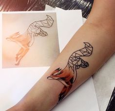 Geometric split body fox tattoo by yershova_anna