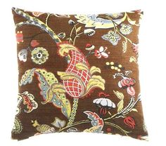 Canaan 2017 C 24 X Wilmington Chocolate Victorian Style Leaf And Fl Pattern Throw Pillow With A Feather Down Insert Zippered Removable Cover