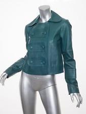 CHLOE $3995 Womens Green Leather Long-Sleeve Jacket Coat 38/6 S NEW NWT