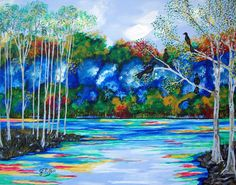 Abstract Landscape Forest Keepers Water Trees Art by JEllisonArt