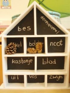 Cute display for a nature table - love the chalkboard paint so you can easily change up the labels Abc For Kids, Becoming A Teacher, Outdoor Classroom, Learning The Alphabet, Play To Learn, School Organization, Teaching Science, Activities For Kids, Diy Projects