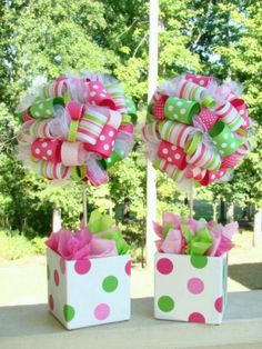 This topiary is a must have centerpiece for any birthday party, baby shower or decoration for your home. This topiary is covered in hundreds ribbons in Strawberry Shortcake Theme and Colors. Cute Crafts, Diy Crafts, Ribbon Topiary, Girl Birthday, Birthday Parties, Birthday Ideas, Birthday Table, Cupcake Birthday, Do It Yourself Design