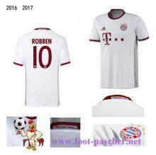 Bundesliga: Maillot Football Bayern Munich Blanc (ROBBEN 10) Third 2016 2017…