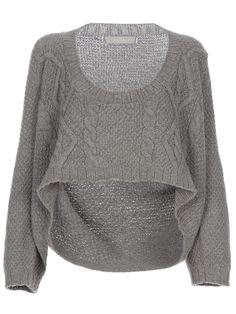 crop wool cable knit sweater