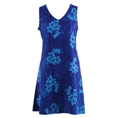 Easy On Plus Size Sundress -Royal Flowers