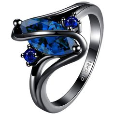 BOHG Jewelry Womens Black Gold Plated Blue Sapphire Stone Cubic... ($6.99) ❤ liked on Polyvore featuring jewelry, rings, gold plated rings, stone rings, blue sapphire ring, cubic zirconia engagement rings and cz jewelry