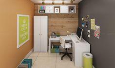 Conjunto Home Office com Mesa para Computador, Armários e Nichos Branco - Caaza