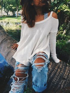 v-neck pullover + ripped jeans #freepeople