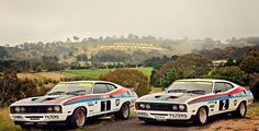 Both crossed the finish line & at the 1977 Bathurst 1000 Australian Muscle Cars, Aussie Muscle Cars, Sport Cars, Race Cars, Ford Motorsport, Big Girl Toys, Old Classic Cars, Capri, Ford Falcon