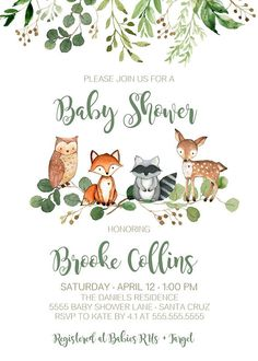 Woodland Invitation Baby Shower, Boy, Gender Neutral with Greenery, INSTANT DOWNLOAD - Size 5x7 Books for Baby & Diaper Raffle INCLUDED Size 3.5x2 - Edit in your browser using TEMPLETT app. *Please Read all information below before placing order & Try before you buy* ►TRY THIS