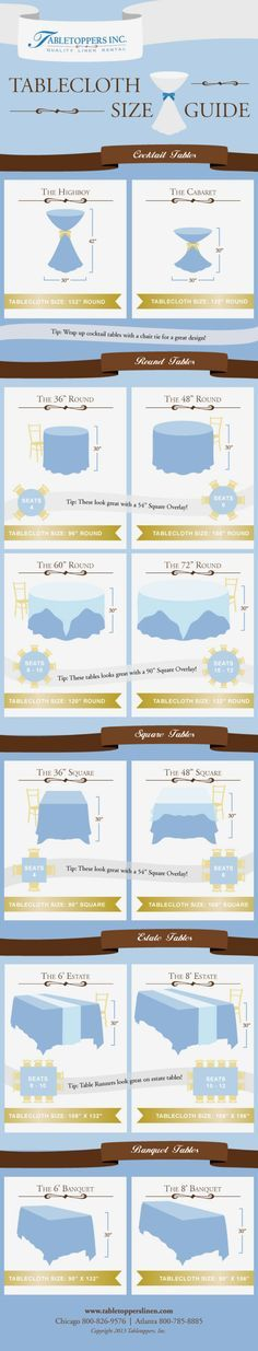 50. Tablecloth Size Guide - 50 Amazingly Clever Cheat Sheets To Simplify Home Decorating Projects