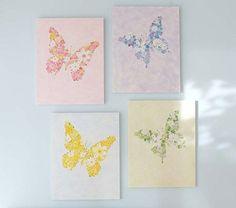Butterfly Flower Plaques   Pottery Barn Kids