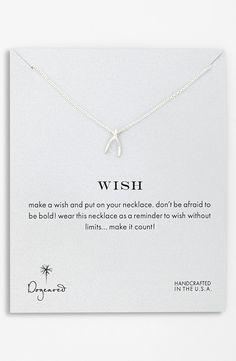 Dogeared 'Reminder - Wish' Wishbone Pendant Necklace $52