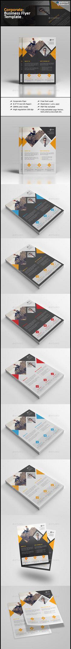 Corporate Clean Flyer Template Vector EPS, AI Illustrator #design Download: http://graphicriver.net/item/corporate-clean-flyer/13472865?ref=ksioks