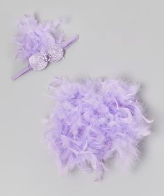 Take a look at this Lavender Feather Bloomers & Headband - Infant by Bébé Oh La La on #zulily today!