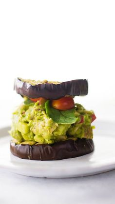 Chicken salad just got a little more lush, thanks to avocados. Pile it high on grilled eggplant buns.