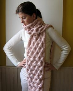 chunky lace scarf pink knitted in merino wool by branda on Etsy - StyleSays