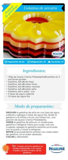 Gelatina de Arcoíris Jello Desserts, Jello Recipes, Cold Desserts, Mexican Food Recipes, Sweet Recipes, Delicious Desserts, Dessert Recipes, Gelatina Jello, Caramel Recipes