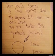 Cute Kid Note Of The Day: I've heard of an eye for an eye, tooth for a tooth, but this... I don't know... [PHOTO]