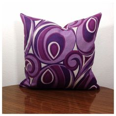 Funky Kitsch Cushion Cover Vintage  60s 70s Purple Psychedelic Fabric