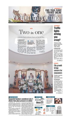 Here is Monday's front page. To subscribe to the award-winning Victoria Advocate, please call 361-574-1200 locally or toll-free at 1-800-365-5779. Or you can pick up a copy at one of the numerous locations around the Crossroads region.