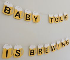 Beer Banner - Baby is Brewing Banner - Beer Garland - Welcome - Baby Shower - BBQ by TheAlegriaStudio on Etsy https://www.etsy.com/listing/230105369/beer-banner-baby-is-brewing-banner-beer