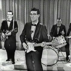 """Buddy Holly & His Crickets performing """"That'll Be The Day"""" on 'The Ed Sullivan Show' on December 1st, 1957—fifty-seven years ago today (February 3rd, 1959) he was killed in a plane crash alongside Ritchie Valens and The Big Bopper, near Clear Lake, Iowa. #thedaythemusicdied #buddyholly"""