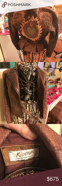 "Kippy Leather Jacket Stunning exclusive collection Kippy leather jacket with hundreds of rhinestones, exotic leathers and incredible detailing. This was my first ""I've made it"" purchase and I hang it in my office, but I never wear it. kippy Jackets & Coats"