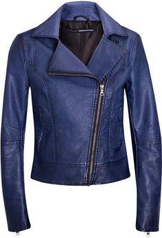 Куртка кожаная синяя stradivarius