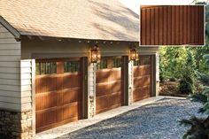 Fiberglass garage doors that look like wood. They're easier to maintain. Won't warp or fade. // faux wood, fake wood garage door // curb appeal