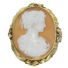 Antique Woman Cameo Brooch Floral Gold by adinantiquejewellery