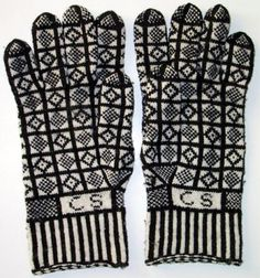 Knitted Sanquhar gloves. The initials on the cuff are a lovely touch.