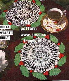 Holly Wreath Doily free vintage crochet doilies patterns