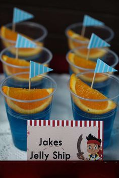 Fun jello cups at a Jake and the Neverland Pirates birthday party! See more party planning ideas at CatchMyParty.com!