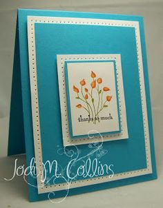 "handmade card ... gorgeous color combo of tourquoise with white details ... layers ... piercing around the edge of the ""border"" layers ... Pocket Silhouettes flower ... luv that it is orange to contrast with all the blue ... gorgeous card!! ...Stampin' Up!"