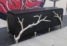 Black & Silver Branch Wood Credenza | Chairish