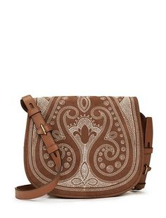 Tory Burch Embroidered Medium Saddlebag