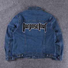Justin Bieber purpose tour embroidery casual washed blue jean jacket