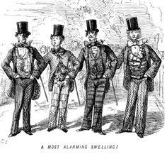 "John Leech cartoon from ""Punch"" satirizing the fashion for dizzying patterns. Their neckties are a bit wild, too. Victorian Men, Edwardian Era, Victorian Fashion, Gentlemen Wear, Steampunk Costume, Vintage Men, Mens Fashion, Cartoon, Costumes"