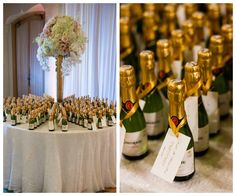 Wedding Guest Favor Table with Miniature Champagne Bottles and Tall, Ivory and Blush Floral Centerpiece