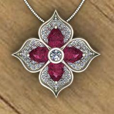 Pink Tourmaline Flower Pendant - Diamond Pavé Petals - W Flower Pendant, Pendant Set, Diamond Pendant, Diamond Necklaces, Diamond Jewelry, Red Jewelry, Jewelery, Fashion Jewelry, Women Jewelry