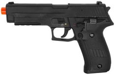 """FULL 1:1 CYMA P226 Full Auto Electric Pistol METAL GEAR BOX AEP Airsoft Gun by CYMA. $80.00. Full 1:1 size handgun with metal gear box Push button clip release holds 30 BB's Heavyweight full metal alloy slide with durable plastic body Switch for selecting between semi-automatic and full-automatic Adjustable hop-up and full length aluminum barrel for more accurate firing Includes 50-pc. 6mm BB's, 7.2v Ni-cd battery w/DC charger, and speed loader Length: 8.5"""""""